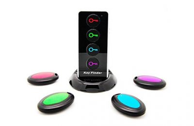 Wireless RF Item Locator Key Finder with Base Support and LED Flashlight